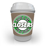 El café está para el vendedor Motivation Incentive Reward de Closers stock de ilustración
