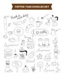 El café garabatea elementos del vector Imágenes de archivo libres de regalías