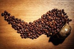 El café, granos de café, asó el café, granos de café asados, coff Imagenes de archivo