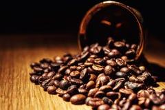 El café, granos de café, asó el café, granos de café asados, coff Fotos de archivo