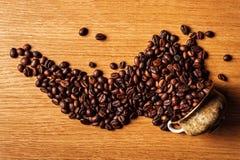 El café, granos de café, asó el café, granos de café asados, coff Imágenes de archivo libres de regalías