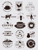 El café hecho a mano Badges colecciones Fotos de archivo