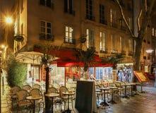 El café Le Tailandia del restaurante situada cerca de la catedral París, Francia de Notre Dame imagenes de archivo