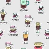 El café mecanografía el modelo inconsútil lindo colorido Fotografía de archivo