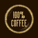 100 el café natural, tipo de la calidad en brillo de oro chispea detrás Foto de archivo libre de regalías