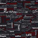 El café redacta etiquetas inconsútiles del fondo ilustración del vector