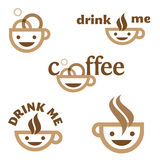 El café me bebe emblema Fotos de archivo libres de regalías