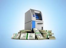 El cajero autom?tico rodeado por 100 fondos del d?lar deposita el cajero autom?tico en la pila de billetes de d?lar del americano ilustración del vector