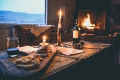 EL CALAFATE, ARGENTINA: Romantic dinner. EL CALAFATE, ARGENTINA: Romantic candlelit dinner with wine Stock Photos