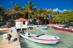 El calafate de Caye una pequeña isla localizó aproximadamente 20 millas de foto de archivo libre de regalías