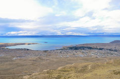 El Calafate top view. Evening sunset nature landscape magic dreamy cloud on the sky in Patagonia Stock Photos