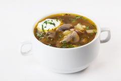 El caldo de la seta, sopa de champiñones, caldo, en un cuenco con la crema agria aislada en el menú blanco del fondo para el perl Imagenes de archivo