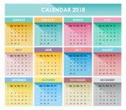 El calendario 2018 Foto de archivo