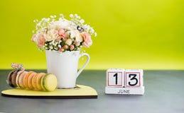El calendario cubica día del concepto del 13 de junio Foto de archivo