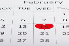El calendario día de fiesta 14 de febrero se destaca adentro Fotos de archivo libres de regalías