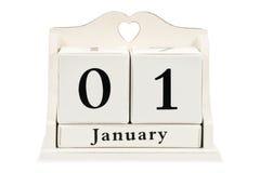 El calendario el 1 de enero Imagen de archivo