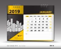 El calendario de escritorio para la plantilla de enero de 2019, calendario imprimible, plantilla del diseño del planificador, sem ilustración del vector