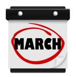 El calendario de pared de la palabra del mes de marzo recuerda horario Fotos de archivo libres de regalías