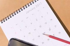El calendario del Año Nuevo 2017 Foto de archivo libre de regalías