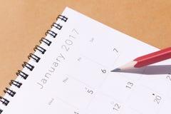 El calendario del Año Nuevo 2017 Imágenes de archivo libres de regalías