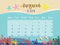 El calendario del océano de agosto de 2019 libre illustration