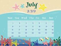 El calendario del océano de julio de 2019 ilustración del vector