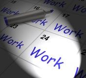 El calendario del trabajo exhibe el empleo Job And Occupation Fotografía de archivo