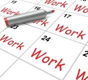 El calendario del trabajo muestra el empleo Job And Fotografía de archivo libre de regalías