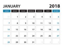 El calendario imprimible para enero de 2018, semana comienza el domingo stock de ilustración