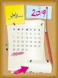 2019 el calendario - mes julio - tape al tablero con corcho con las notas libre illustration