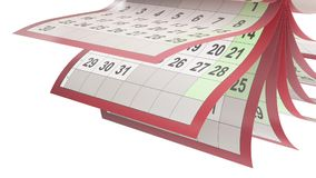 El calendario pagina el turneng en la cámara lenta libre illustration