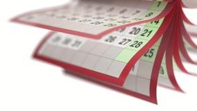 El calendario pagina el turneng en la cámara lenta ilustración del vector