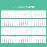 El calendario pagina la plantilla de 2016 vectores Foto de archivo libre de regalías