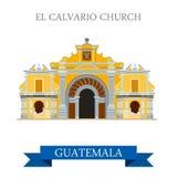El Calvario Church Cobán in Guatemala flat vector Royalty Free Stock Images