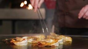 El camarón en un cocinero del sartén se mezcla, primer almacen de video