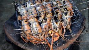El camar?n as? a la parrilla los mariscos del Bbq en la estufa, gambas de r?o asadas a la parrilla en flamear Alimento tailand?s  almacen de video