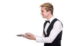 El camarero que sostiene la placa aislada en blanco Imagenes de archivo
