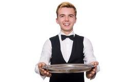 El camarero que sostiene la placa aislada en blanco Imágenes de archivo libres de regalías