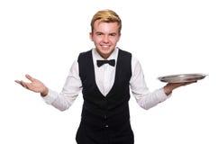 El camarero que sostiene la placa aislada en blanco Foto de archivo