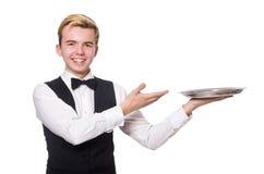 El camarero que sostiene la placa en blanco Imagen de archivo