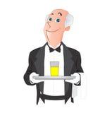 El camarero trajo un vidrio de la historieta del jugo Imagenes de archivo