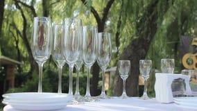 El camarero vierte el champán en copa, en un restaurante, el camarero vierte el champán en cristales, restaurante almacen de video