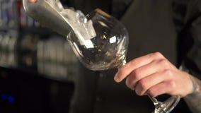 El camarero vierte los cubos de hielo en el vidrio de cóctel almacen de metraje de vídeo
