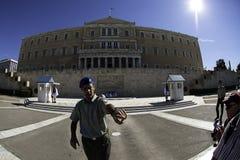 El cambio del guardia en el edificio griego del parlamento Fotografía de archivo libre de regalías