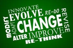 El cambio se adapta se desarrolla mejora repiensa el collage de la palabra ilustración del vector