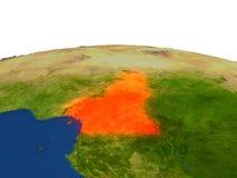 El Camerún en rojo de la órbita stock de ilustración
