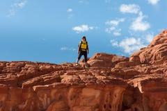 El caminante de la mujer con la mochila disfruta de la visión en desierto imágenes de archivo libres de regalías
