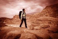 El caminante de la mujer con la mochila disfruta de la visión en desierto fotografía de archivo libre de regalías