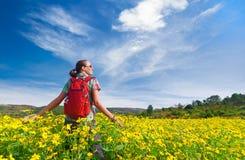 El caminante de la mujer joven camina en el fondo de campos coloreados Imagen de archivo