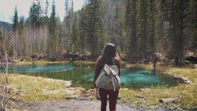 El caminante de la mujer que camina alrededor del lago de la montaña y disfruta de sus paisajes espectaculares En un fondo de un  almacen de metraje de vídeo